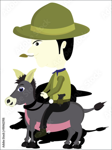 the funny cowboy ride a donkey fat buy this stock vector and
