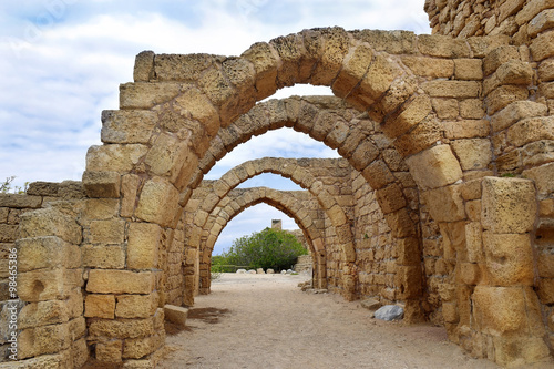 Recess Fitting Ruins remains of the archs in ancient city of Caesarea, Israel
