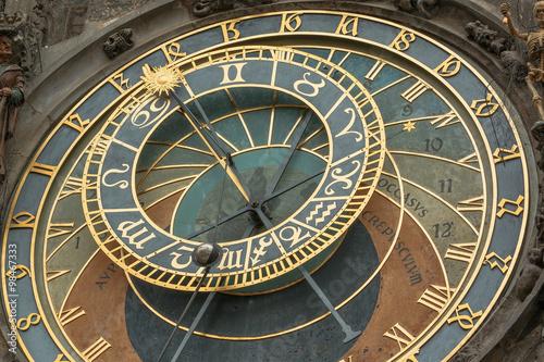 Fotobehang Praag Detailed view of Old Town Hall Tower Prague astronomical clock