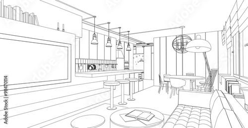 Fotografía  Interior vector drawing.
