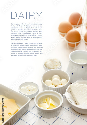 Deurstickers Zuivelproducten Dairy products on a white table