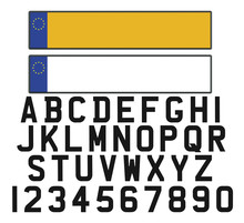 Empty Vehicle Registration Plate With Set Of Numerals And Letter