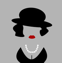 Woman With Retro Hat And Large Pearls