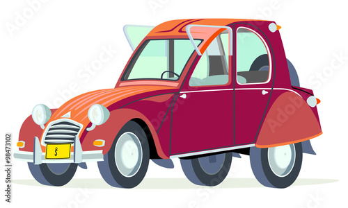 Caricatura Citroen 2CV Citroneta Chile rojo vista frontal y lateral Wallpaper Mural