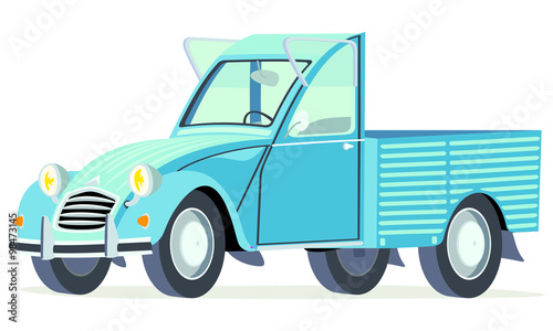 Fotografija Caricatura Citroen 2CV AK pick up azul vista frontal y lateral
