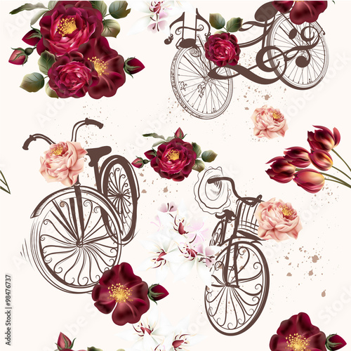 Cotton fabric Cute vector invitation with fake bicycle and flowers