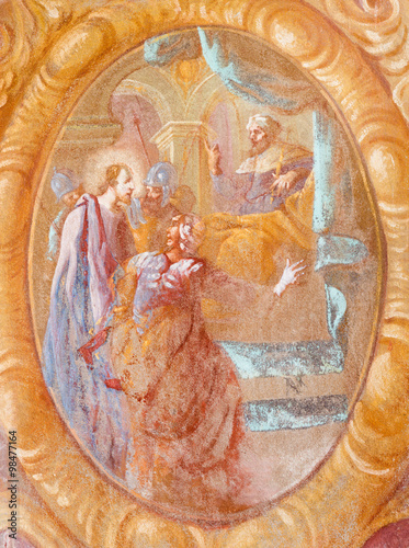 Fototapeta Banska Stiavnica - Jesus before Caiaphas fresco in the church of baroque calvary
