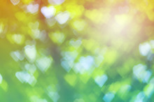 Green Heart Bokeh Abstract Light Background With Vintage Color Tone