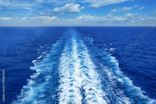 Fotografie, Obraz  Ocean Wake from Cruise Ship