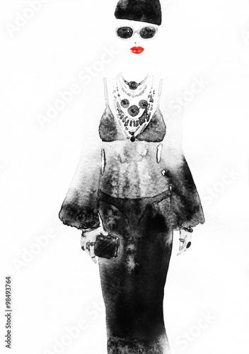 kobieta-z-eleganckiej-sukni-abstract-akwarela-fashion-tlo