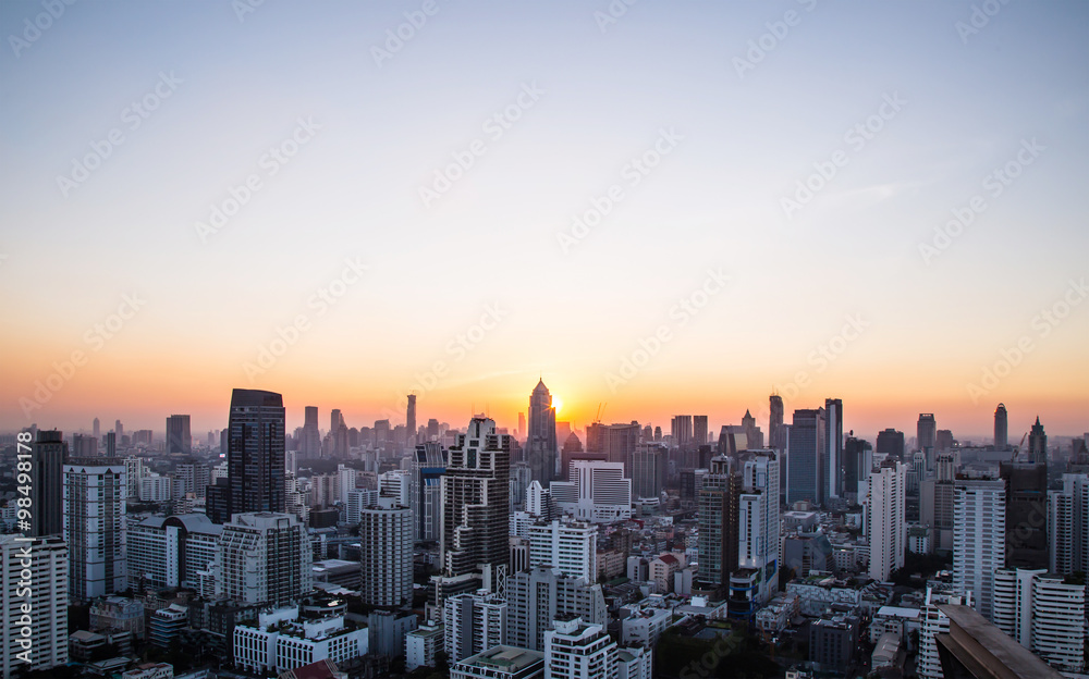 Fototapety, obrazy: this is Cityscape and sunset at evening time