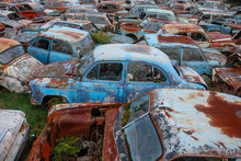 Several Abandoned Cars At Car Cemetery In New Zealand
