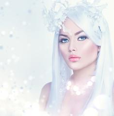 Naklejka Winter beauty woman portrait with long white hair