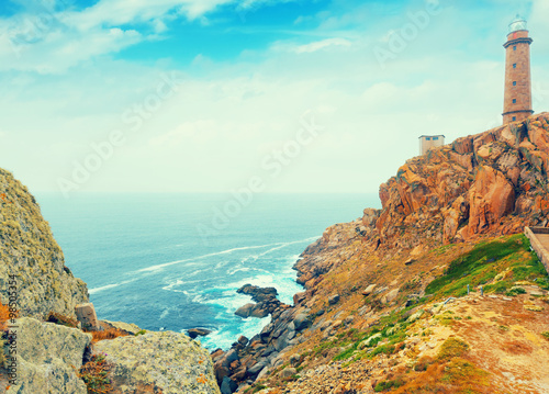 Tuinposter Athene Positive toned photo with lighthouse