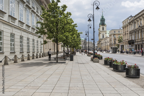 Fototapeta WARSAW - JULY 09: Holy Cross Church built between 1679-1696 in B obraz
