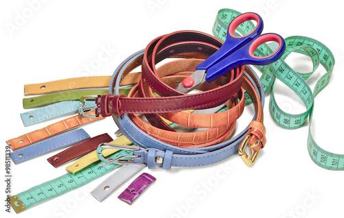Fotografie, Obraz  waist belt, a pair of scissors and a tailor's ruler