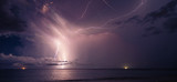 Lightning in the ocean at night