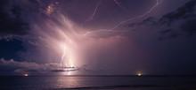 Lightning In The Ocean At Night