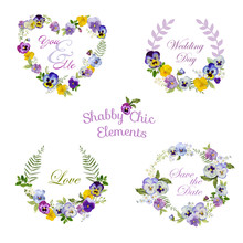 Flower Banners And Tags - For Your Design And Scrapbook