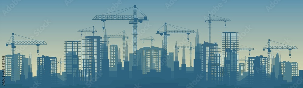 Fototapeta Wide banner illustration of buildings under construction in process