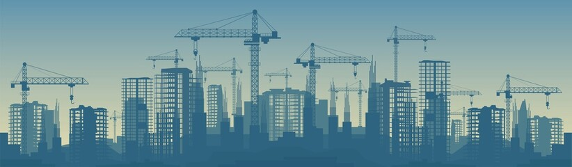 Wide banner illustration of buildings under construction in process