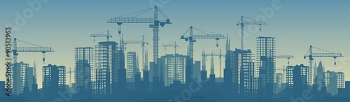 Fototapeta Wide banner illustration of buildings under construction in process obraz