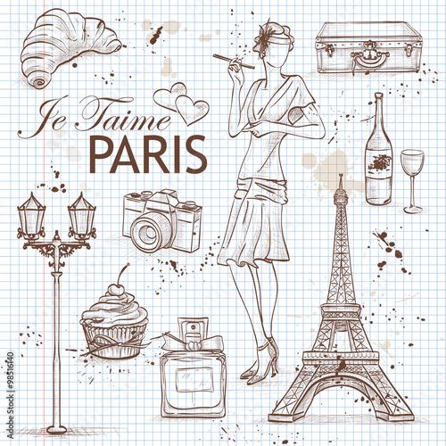 Photo  paris set on note book page