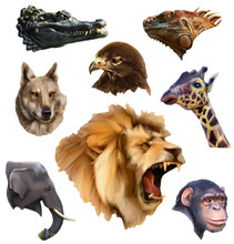 Animal Heads, Low Poly Style Icons Set
