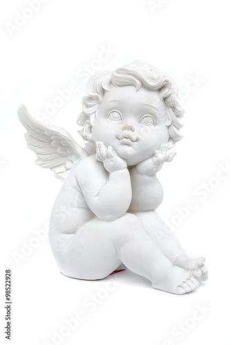 cherub statuette isolated on white Wallpaper Mural