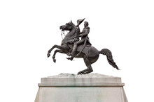 A Statue Of President Andrew Jackson Riding His Horse By Clark Mills, In Layfayette Square, Washington, DC,  U.S. Isolated On White Background