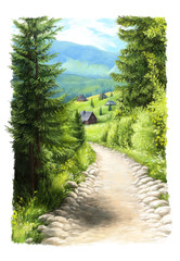 Cartoon painted scene nature in the mountains - illustration for the children