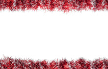 Seamless Christmas Red Silver Tinsel Frame. Isolated On A White Background.