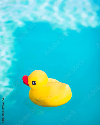 Aluminium Prints River, lake Rubber Ducky in Water