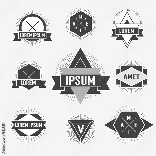 black and white hipster logo labels isolated on background hipster