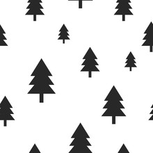 Scandinavian Black Forest Tree On White Vector Seamless Pattern. Simple And Trendy Design For Textile Fabric, Wrap Paper, Prints.