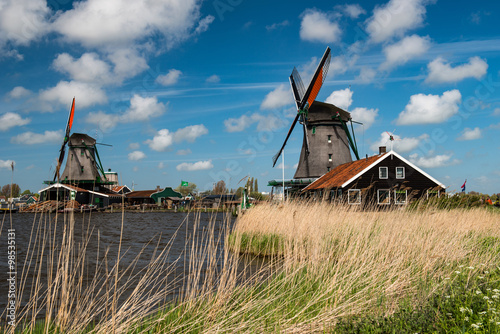 Stickers pour porte Moulins Windmill, Holland countryside