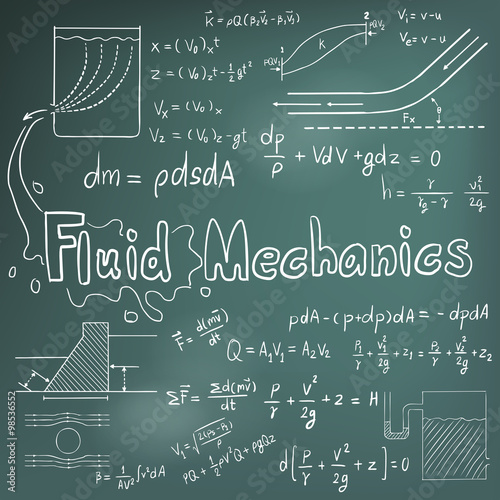 Mechanic of Fluid law physics math formula equation doodle icon in blackboard ba Canvas Print