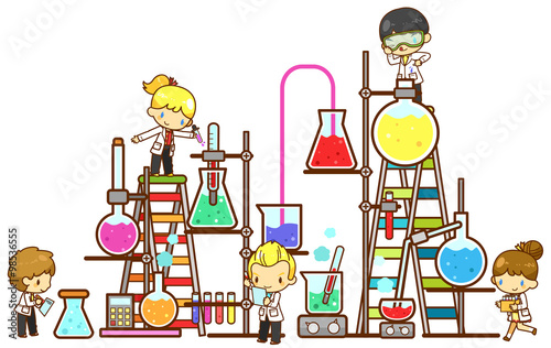 Cartoon Children Study Chemistry Experimenting In Laboratory With Test Tube Beaker And Science Tool In Isolated