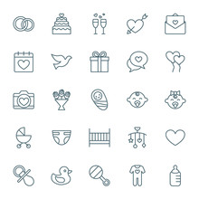Wedding And Baby Vector Icons Set