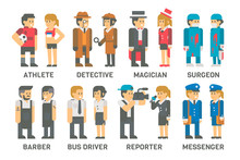 Flat Design People With Profes...