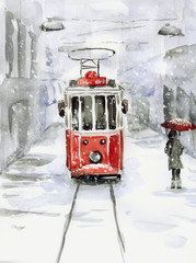 Obraz Snowfall and old tram