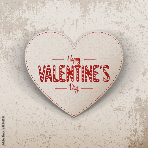 Papiers peints Affiche vintage Happy Valentines Day realistic paper Heart Label