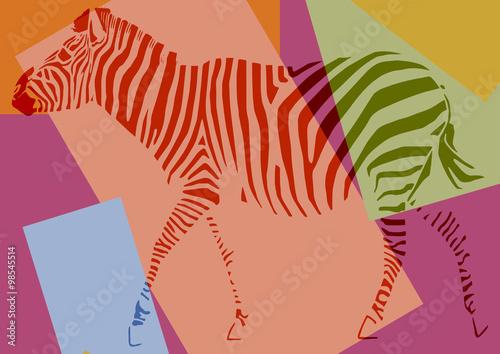 Zèbre pop art - 98545514