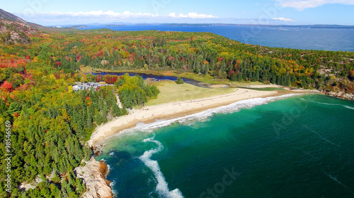 Beautiful fall colors of Acadia, Maine. Aerial view from helicop Canvas Print