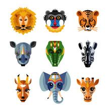 African Animals Heads Masks F...