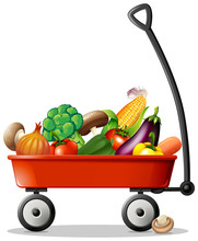 Fresh Vegetables In Red Wagon