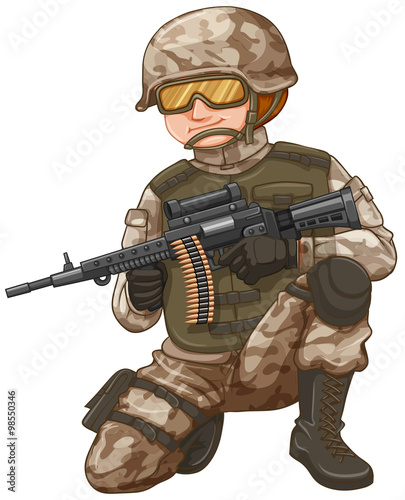 Poster Militaire Army with rifle gun loaded with bullets