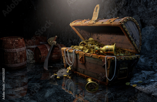 Valokuva  Pirate's chest in a dark cave