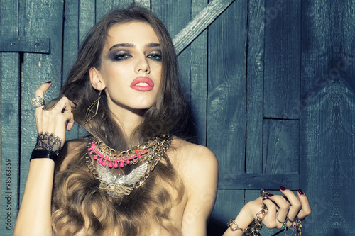 Fotografie, Obraz  Pretty woman with jewellery