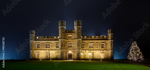 Canvas Prints Castle English castle with Christmas lights at night